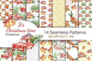 Christmas Truck Seamless Pattern