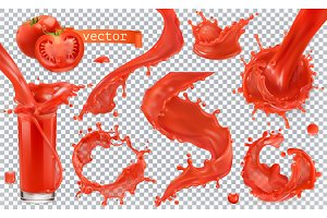 Red paint splash. Vector icon set