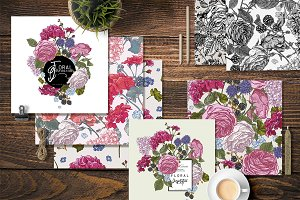 Vintage Blooming Roses and Geraniums