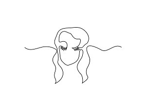 Abstract portrait of a woman logo