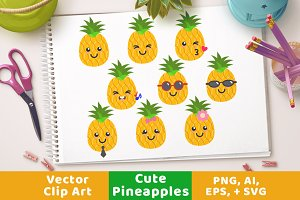 Cute Pineapples Clipart