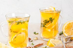 Warming lemon and ginger tea