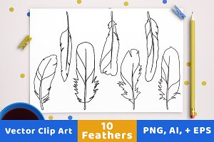 10 Feathers Clipart, Line Drawings
