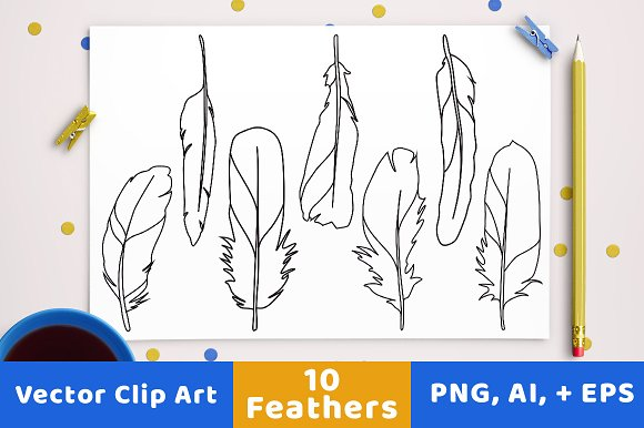 10 Feathers Clipart Line Drawings
