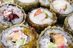 Sushi rolls rice fish Japan food macro photo