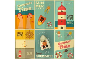 Summer Holidays posters set