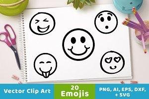 20 Emojis Clipart