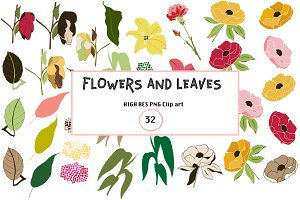 32 Flowers & Leaves: vector clip art