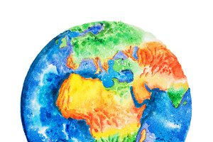 Globe. Aquarelle drawing of Africa relief map. View to Earth from space.
