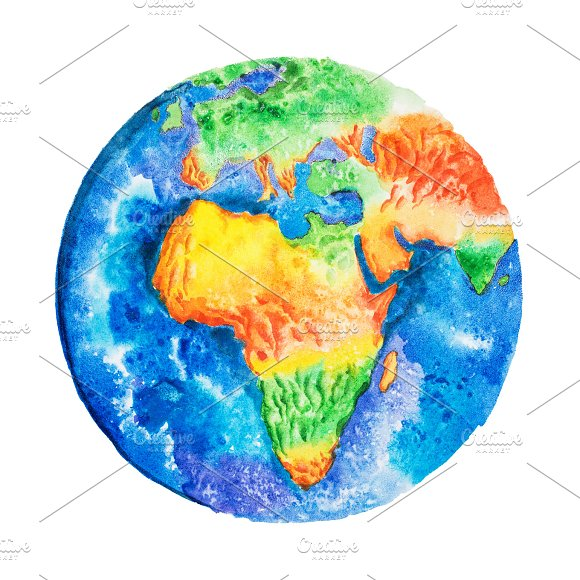 Globe Aquarelle Drawing Of Africa Relief Map View To Earth From Space