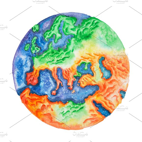 Handdrawn Watercolor Illustration Of Topographic Map Of Europe - Earth topographic map
