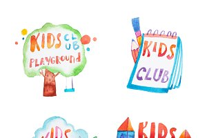 Collection of watercolor promotional symbols with calligraphic letterings of kids club playground