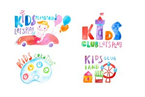 Kids club logo templates or promotional symbols set hand-drawn with watercolor on white paper