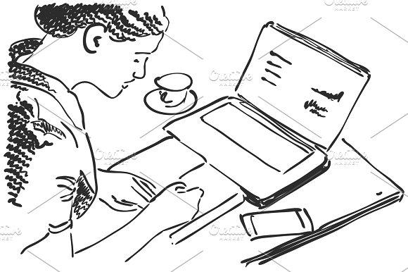 Sketch Of Girl Works Using Pen Tablet Hand Drawn Vector Illustration