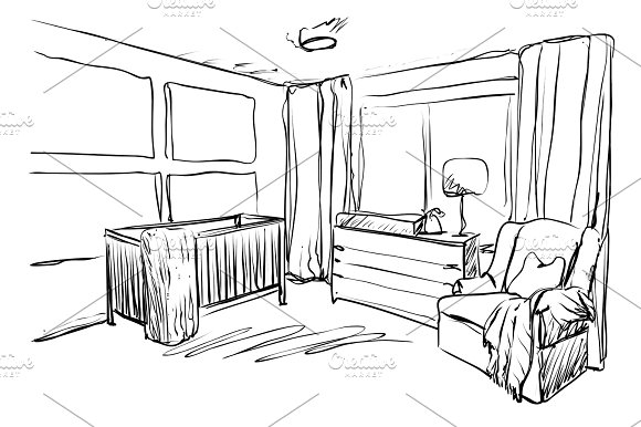 Children Room Furniture Sketch Baby Bed