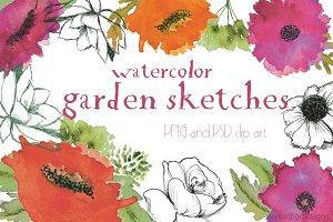 watercolor garden clipart