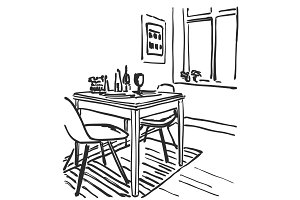 Sketch of modern interior table and chairs. Furniture