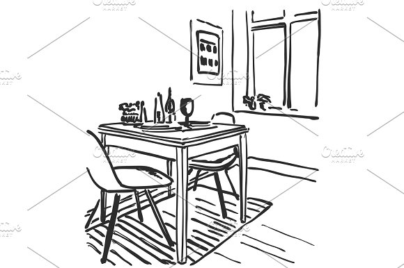 Sketch Of Modern Interior Table And Chairs Furniture
