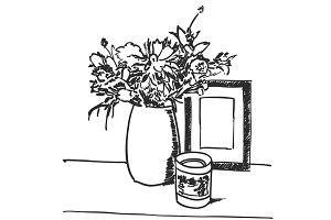 Bouquet flowers in vase hand drawn black lines
