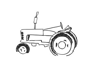 Tractor sketch. Agricultural logo
