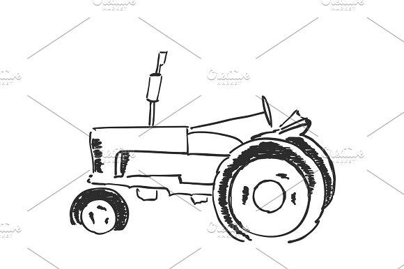 Tractor Sketch Agricultural Logo