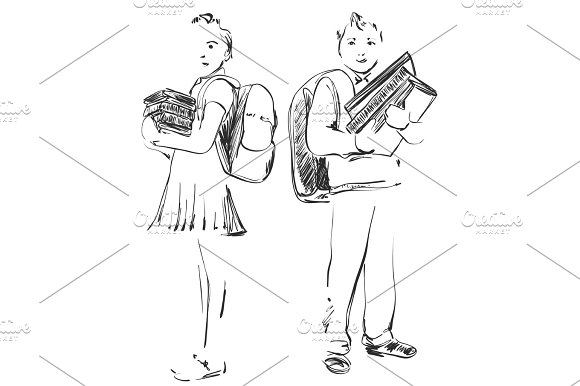 Illustration Of School Children Boy And Girl Hand Drawn Sketch