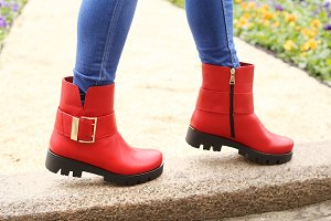 Jeans and red autumn boots