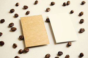 Business name card on coffee beans