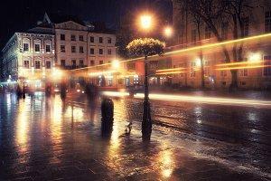 Night city at rainy night