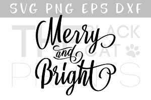 Merry & Bright SVG Christmas SVG DXF