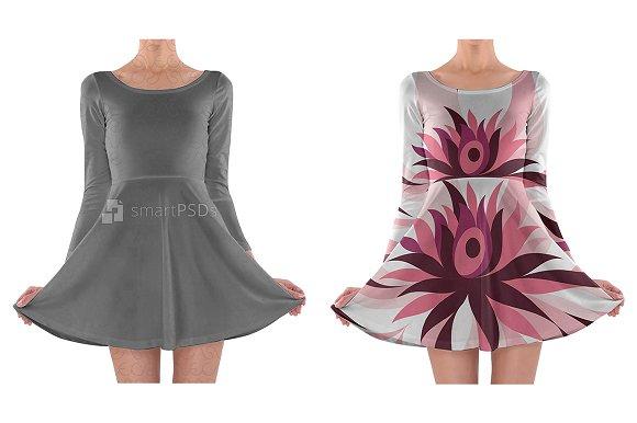 long sleeve skater dress design product mockups creative market