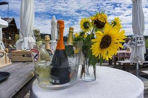 Wine decoration with sunflower