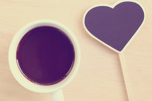 Black coffee and heart shape blackbo