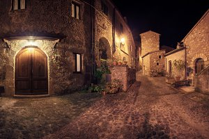 Sorano night view panorama