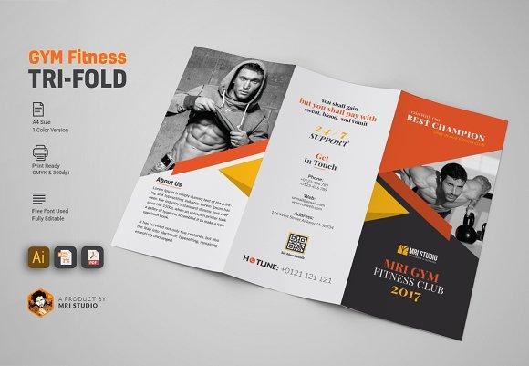 GYM Tri Fold Brochure ~ Brochure Templates ~ Creative Market
