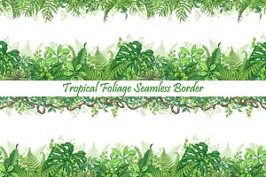 Tropical  Foliage Seamless Border