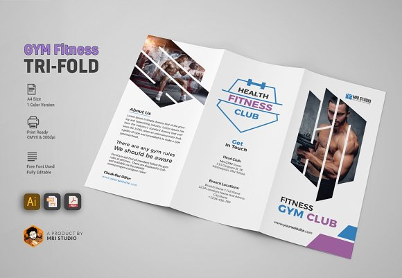 GYM Trifold Brochure ~ Brochure Templates ~ Creative Market