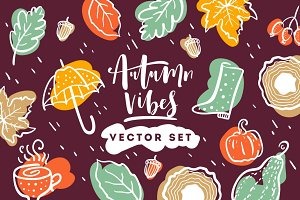 Autumn vibes. Vector set.