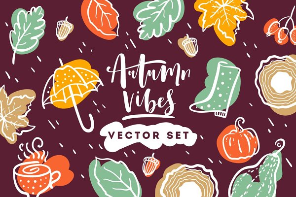 Autumn vibes. Vector set. | Pre-Designed Illustrator Graphics ~ Creative  Market