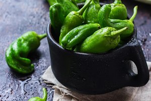 Raw green mexican spanish peppers jalapeno