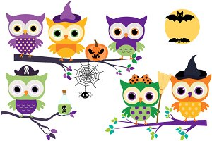 Cute Halloween owls clip art set