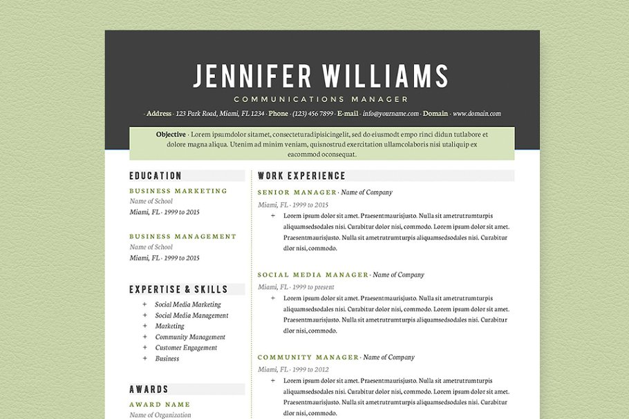 Professional Resume Template Pkg. ~ Resume Templates ...