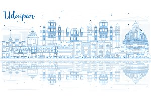 Outline Udaipur India Skyline