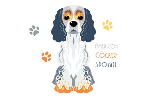 Vector funny American Cocker Spaniel dog sitting