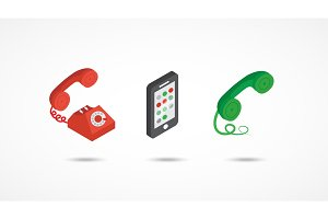 Telephone isometric icons 3d colorful illustration