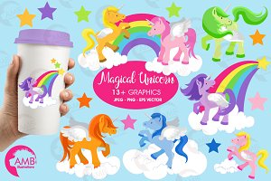 Unicorns Rainbow Clipart AMB-160