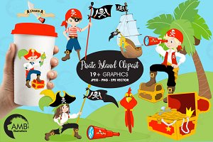 Pirates Island Clipart, AMB-173