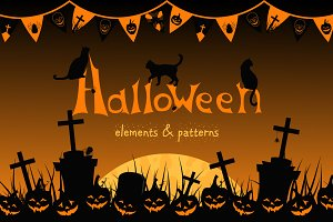 Halloween. Elements and patterns