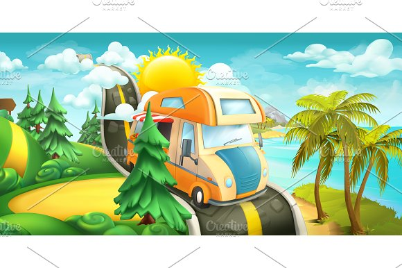 Road To Clouds Vector Panorama