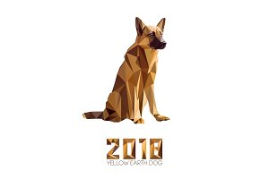 Guard dog German shepherd in polygons style, 2018